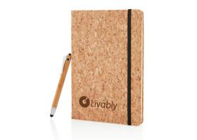 Блокнот Cork на резинке с бамбуковой ручкой-стилус, А5